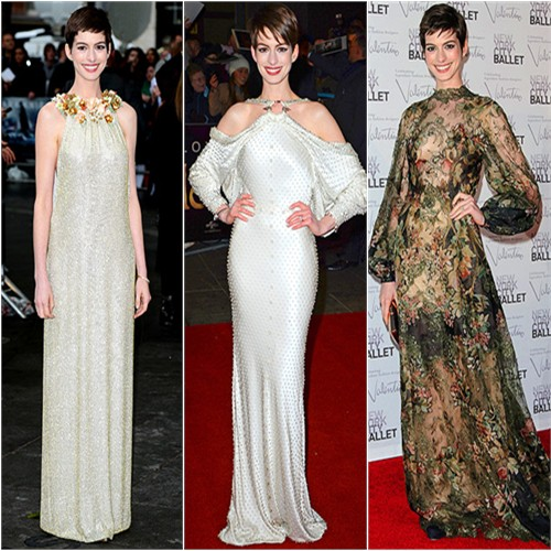 Anne Hathaway in Gucci, Givenchy, and Valentino