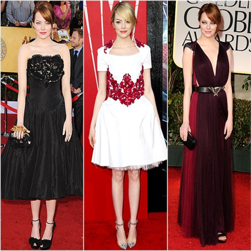 Emma Stone in Alexander McQueen, Chanel, and Lanvin