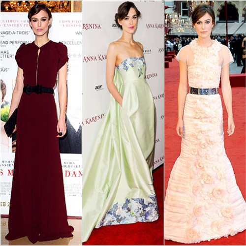 Keira Knightley in Burberry Prorsum, Erdem, and Chanel