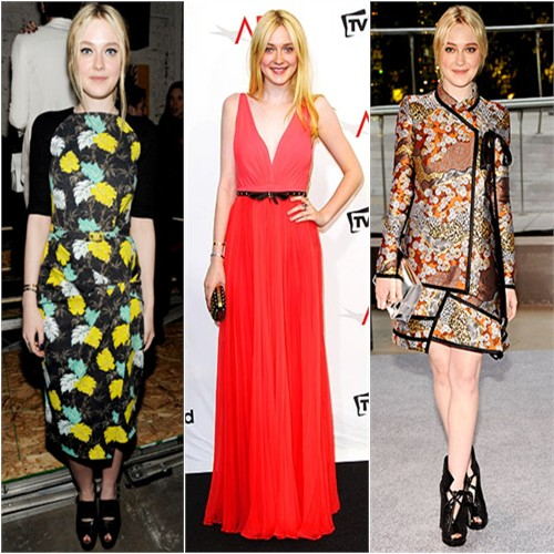 Dakota Fanning in Proenza Schouler, Gucci, and Proenza Schouler