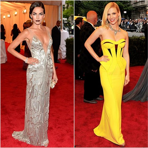 Camilla Belle in Ralph Lauren and January Jones in Versace
