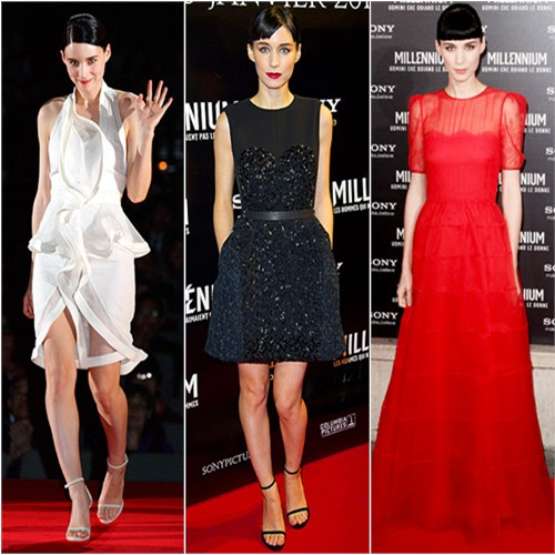 Rooney Mara in Givenchy, Louis Vuitton, and Valentino