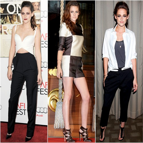 Kristen Stewart in Balenciaga, Louis Vuitton, and Balenciaga/A.L.C.