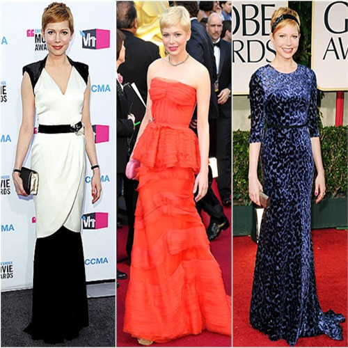 Michelle Williams in Chanel, Louis Vuitton, and Jason Wu