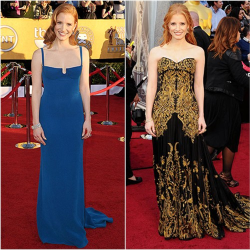 Jessica Chastain in Calvin Klein and Alexander McQueen