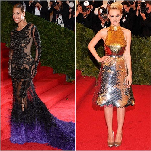 Beyonce in Givenchy and Carey Mulligan in Prada