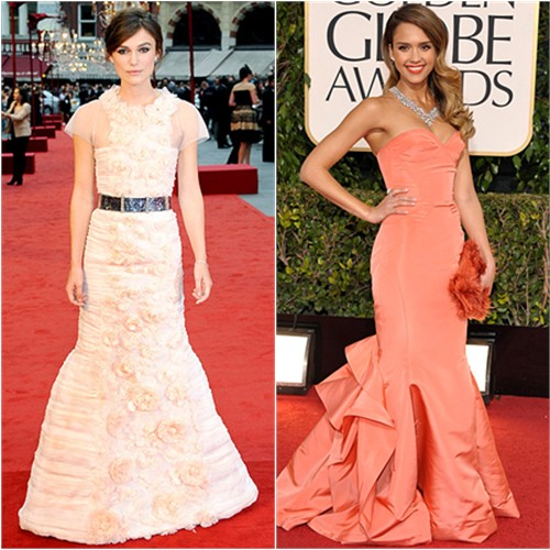 Keira's gown by Chanel; Jessica's gown by Oscar de la Renta, purse by Roger Vivier