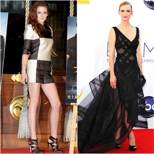 Kristen's romper by Louis Vuitton, shoes by Brian Atwood; January's gown by Zac Posen