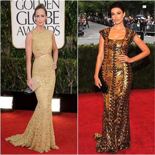Emily's gown by Michael Kors; Jessica's gown by L'Wren Scott