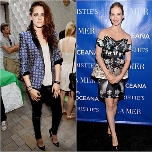 Kristen's jacket and pants by Roberto Cavalli, shoes by Christian Louboutin; January's dress by Mary Katrantzou, shoes by Sergio Rossi