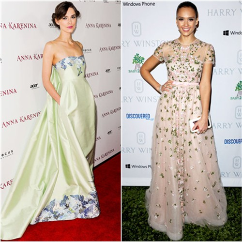 Keira's gown by Erdem; Jessica's gown by Valentino, purse by Roger Vivier
