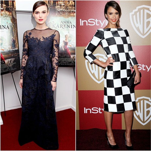 Keira's gown by Valentino; Jessica's dress by Louis Vuitton, shoes by Casadei