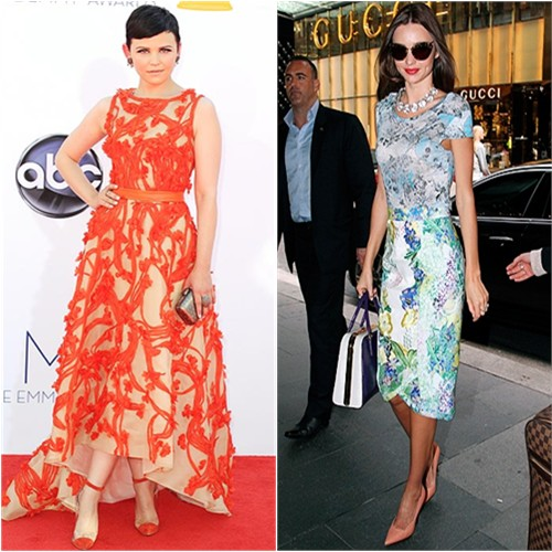 Ginnifer's gown by Monique Lhuillier, purse by Judith Leiber, shoes by Christian Louboutin; Miranda's top and skirt by Erdem, sunglasses by Miu Miu, purse by Prada