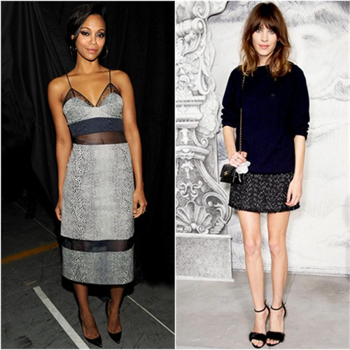 Zoe's dress by Preen; Alexa's skirt and purse by Chanel