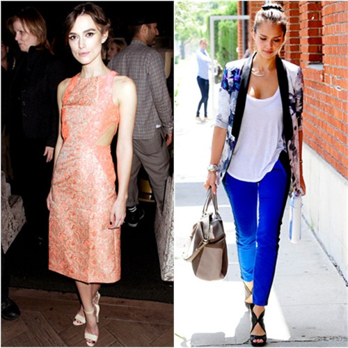 Keira's dress by Richard Nicoli; Jessica's blazer by Stylestalker, pants by Current/Elliott, purse by Tod's