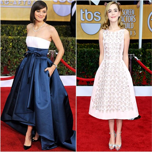 Marion's gown by Christian Dior; Kiernan's dress and shoes by Oscar de la Renta