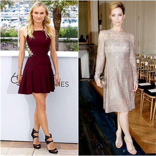 Diane's dress by Versus, shoes by Jimmy Choo; Leslie's dress by Valentino