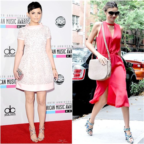 Ginnifer's dress by Oscar de la Renta, purse by Judith Leiber, shoes by Jimmy Choo; Miranda's dress by A.L.C., purse by Alexander Wang, shoes by Balenciaga