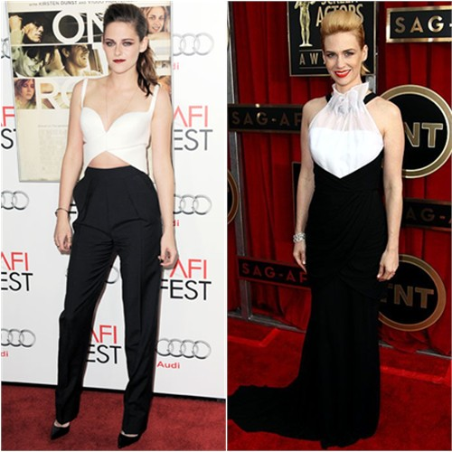 Kristen's top and pants by Balenciaga, shoes by Christian Louboutin; January's gown by Prabal Gurung