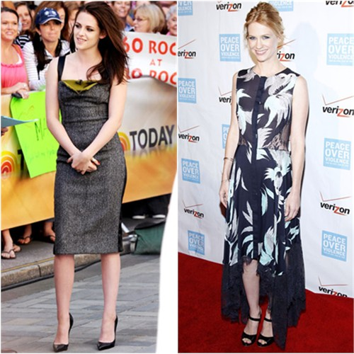 Kristen's dress by Narciso Rodriguez, shoes by Christian Louboutin; January's dress by Wes Gordon, shoes by Rupert Sanderson