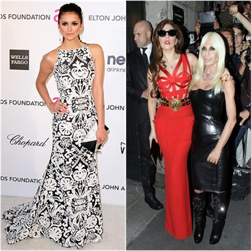 Nina's gown by Naeem Khan, purse by Swarkovski; Gaga's gown and purse by Versace