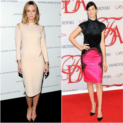 Emily's dress by Emilio Pucci, shoes by Stuart Weitzman; Jessica's dress by Jason Wu