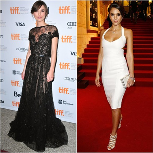 Keira's gown by Elie Saab, shoes by Gucci; Jessica's dress by Narciso Rodriguez