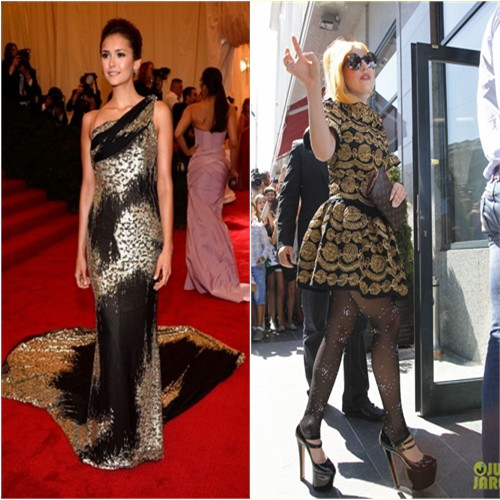 Nina's gown by Donna Karan; Gaga's dress by Moschino, purse by Louis Vuitton, shoes by Brian Atwood