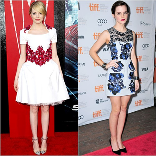 Stone's dress by Chanel, shoes by Christian Louboutin; Watson's dress by Erdem