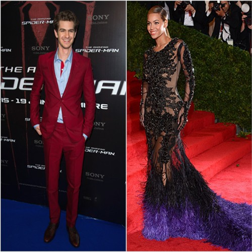 Andrew's suit by Balenciaga; Beyonce's gown by Givenchy