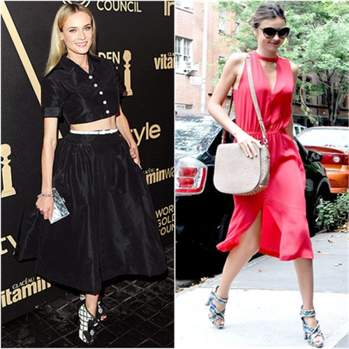 Diane's top and skirt by Rochas, purse and shoes by Chanel; Miranda's dress by A.L.C., purse by Alexander Wang, shoes by Balenciaga