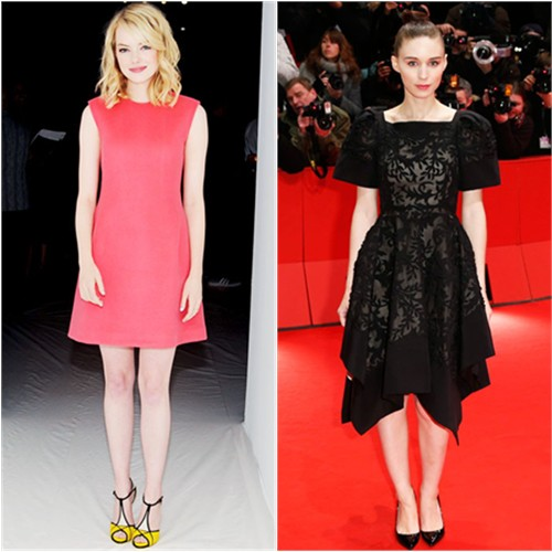 Emma's dress by Calvin Klein, shoes by Roger Vivier; Rooney's dress by Valentino, shoes by Christian Louboutin