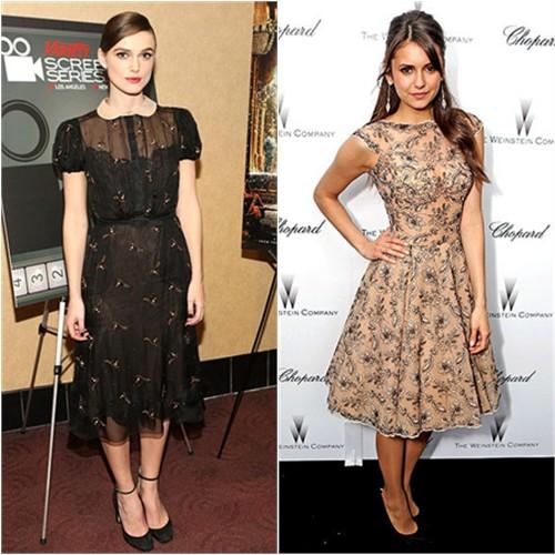 Keira's dress by Valentino; Nina's dress by Zuhair Murad
