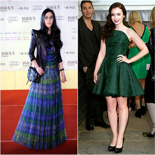 Fan's jacket by Balmain, gown by Tadashi Shoji; Lily's dress by Alexander McQueen