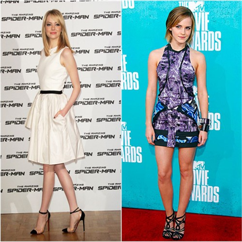 Stone's dress by Jason Wu, shoes by Christian Louboutin; Watson's dress by Brood, shoes by Tabitha Simmons