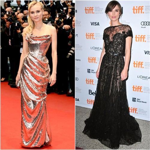 Diane's gown by Vivienne Westwood, purse by Jimmy Choo; Keira's gown by Elie Saab