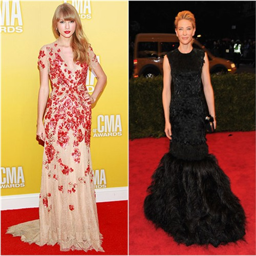Taylor's gown by Jenny Packham; Cate's gown by Alexander McQueen