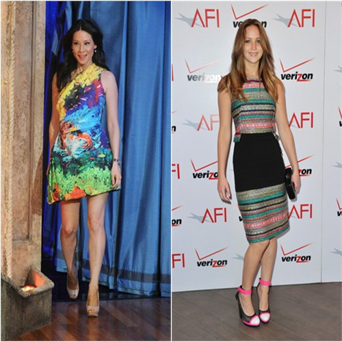 Lucy's dress by Mary Katrantzou, shoes by Nicholas Kirkwood; Jennifer's dress by Prabal Gurung, purse by Jill Milan, shoes by Casadei for Prabal Gurung