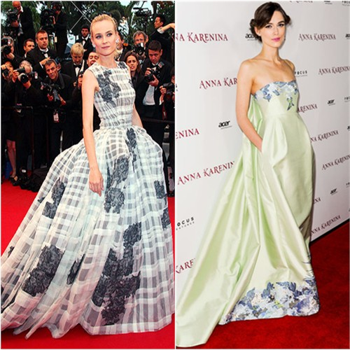 Diane's gown by Christian Dior; Keira's gown by Erdem