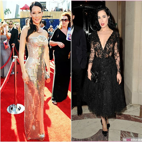 Lucy's gown by Versace, purse and shoes by Giuseppe Zanotti; Dita's dress by Elie Saab, shoes by Christian Louboutin