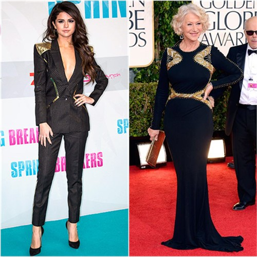 Selena's suit by Atelier Versace, shoes by Casadei; Helen's gown by Badgley Mischka