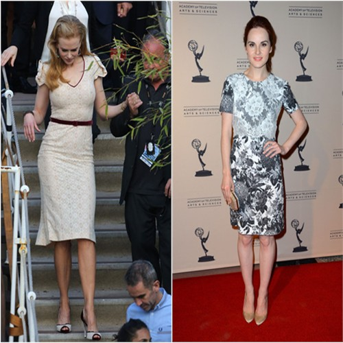 Nicole's dress and shoes by L'Wren Scott; Michelle's dress by Stella McCartney, purse by Be&d, shoes by Christian Louboutin