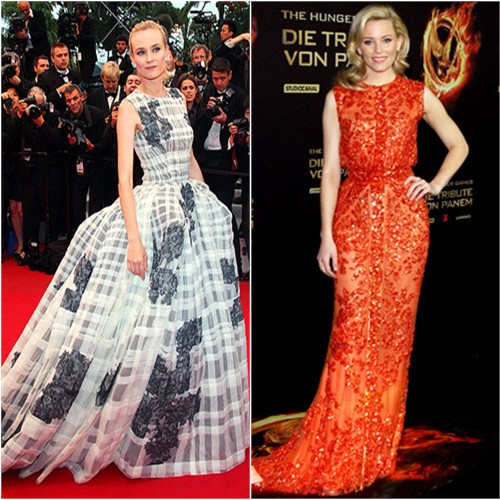 Diane's gown by Christian Dior; Elizabeth's gown by Elie Saab