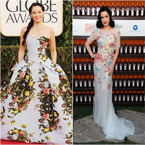 Lucy's gown by Carolina Herrera; Dita's gown by Jenny Packham