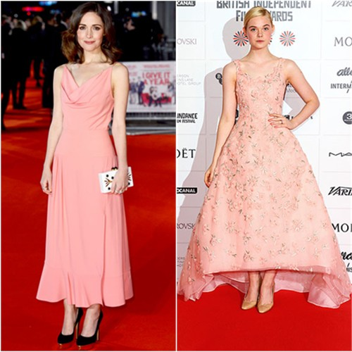 Rose's gown by Balenciaga, purse by Thale Blanc, shoes by Charlotte Olympia; Elle's gown and shoes by Oscar de la Renta