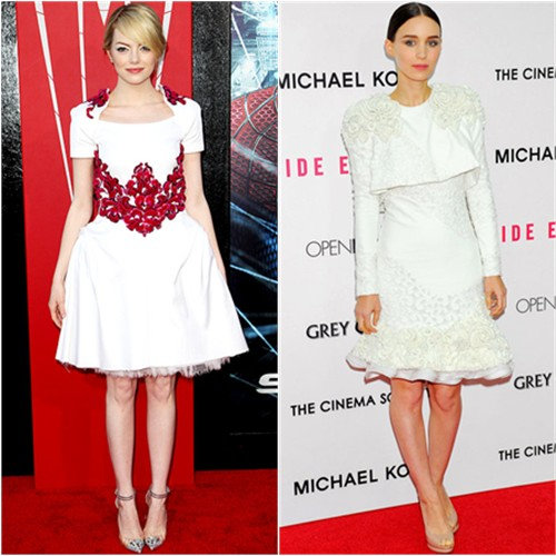 Emma's dress by Chanel, shoes by Christian Louboutin; Rooney's dress by Alexander McQueen, shoes by Nicholas Kirkwood
