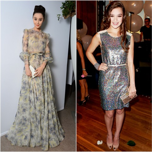 Fan's gown by Valentino, purse by Salvatore Ferragamo; Hailee's dress by Erin by Erin Fetherston, purse by Edie Parker