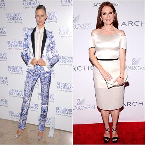 Karolina's suit by Roberto Cavalli, shoes by Christian Louboutin; Julianne's dress by Calvin Klein