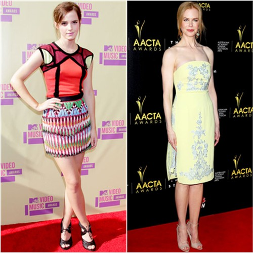 Emma's dress by Peter Pilotto, shoes by Tom Ford; Nicole's dress by Erdem, shoes by Brian Atwood