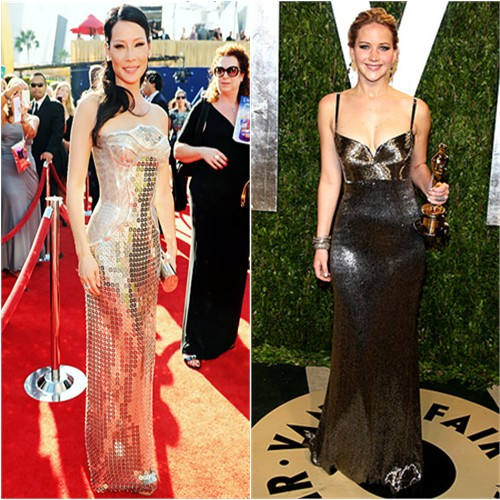 Lucy's gown by Versace, purse by Giuseppe Zanotti; Jennifer's gown by Calvin Klein